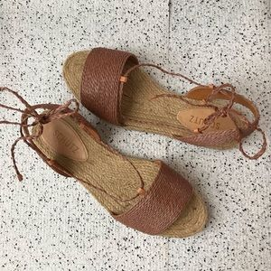 New Schutz Espradille Lace Up Sandals Size 8